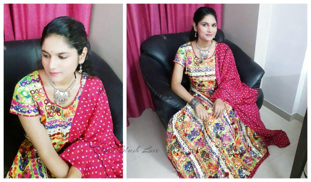 Navratri Outfit, festive makeup, Lehenga