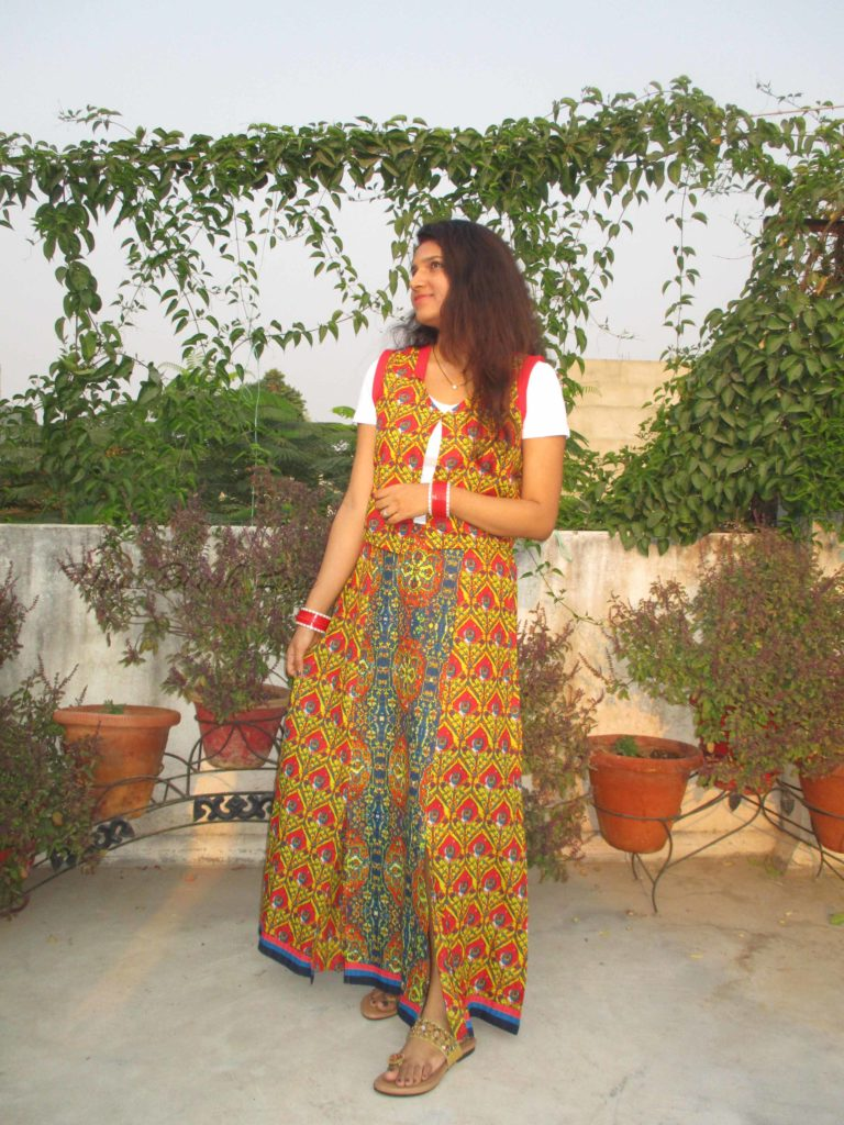 Festive outfit- Maxi skirt with ethnic jacket/vest