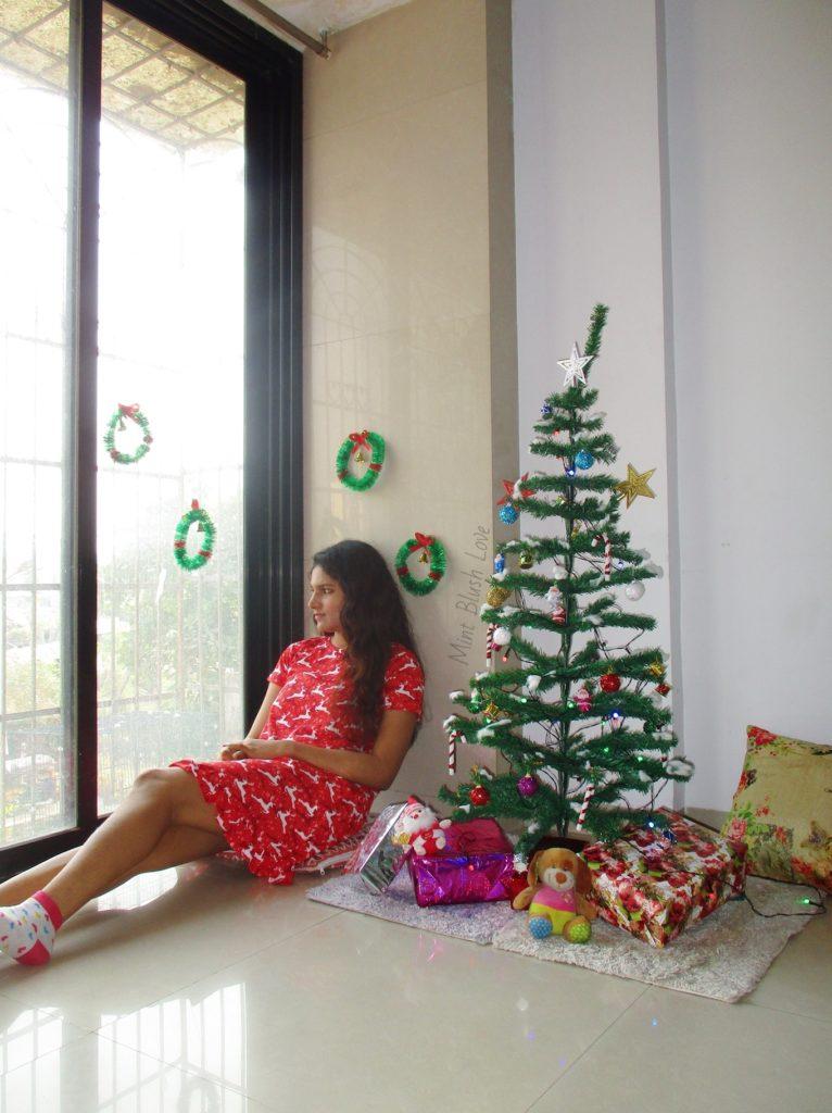 christmas jammies lounge wear short nightdres