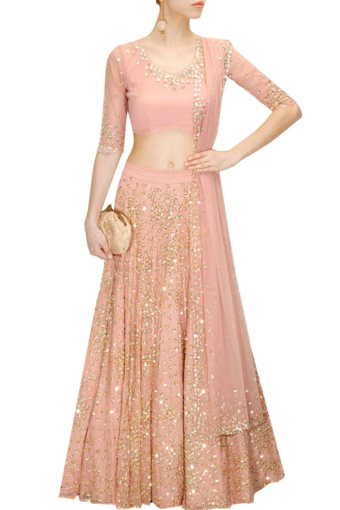 Blush pink wedding lehenga