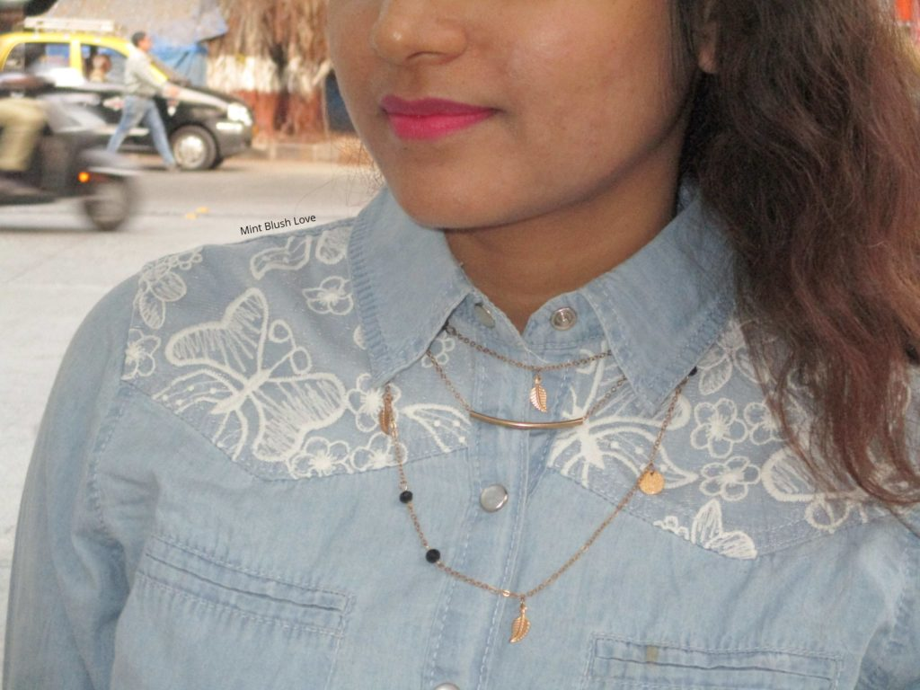 Chambray shirt, Layered gold necklace with chambray shirt, Hot pink lipstick